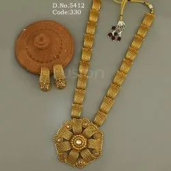 Fusion Antique Gold Long Necklace Set