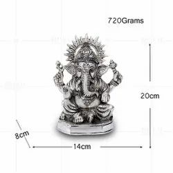 Silver Plated Ganesh Medium Plain