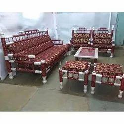 Mild Steel Antique Designer Sankheda Sofa Set, For Home