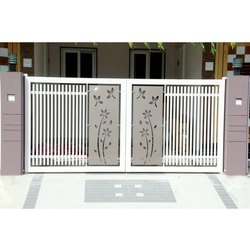 Hinged Powder Coated Mild Steel Entry Gate, For Home