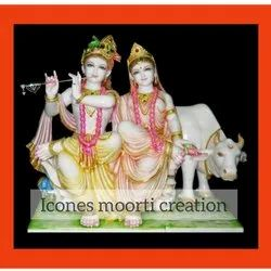 Marble Radha Krishna with cow Statues