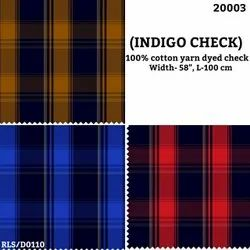 Indigo Check Cotton Yarn Dyed Check