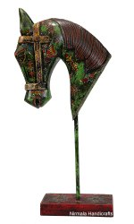 NIRMALA HANDICRAFTS Iron Horse Head Statue With Stand Embossed Work Table Decor Showpiece