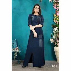 Stitch Ladies Denim Blue Long Dress