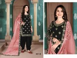 Unstitched mix Stylish Art SilK Embroidered Patiala Suit, Dry clean