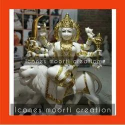 White And Golden Marble Durga Statue