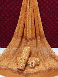 Exclusive Hand Block Printed Cotton Dress Material With Chiffon Dupatta.