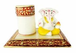 Nirmala Handicrafts Exporters Marble Ganesha Statue With Pen Stand Home/Office Table Decorative