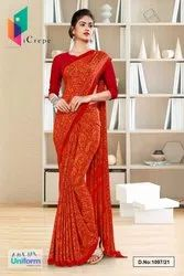 Red Premium Italian Crepe Uniform Sarees