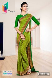 Yellow Green Paisley Print Premium Italian Silk Crepe Uniform Sarees for Factory Workers