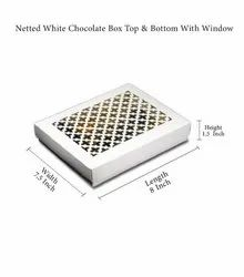 GUJARAT SHOPEE Rectangle Netted White Chocolate Box Top & Bottom With Window
