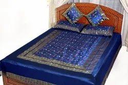 Blue Cotton floral print banaraisilk bed sheets, 1, Size: King