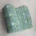 Cotton White Base Block Print Double Bed Reversible Jaipuri Quilt