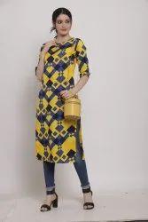 Women Printed crepe straight Kurta (Yellow)
