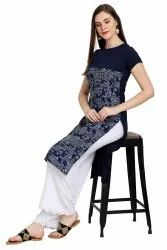 Women Printed Crepe Straight Kurta(Navy Blue)