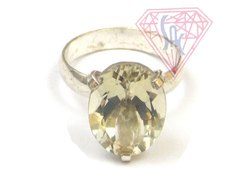Crystal Gemstone Ring Oval Shape with Silver Plated