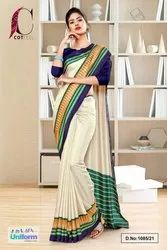 Cream Navy Blue Plain Gala Border Polycotton Cotfeel Saree For Showroom Uniform Sarees 1085