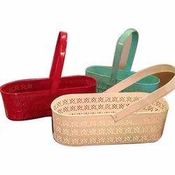 Rectangular Green Metallic Basket For Gifting, For Kitchen, Size: 40 X 25 X 26 Cm
