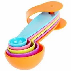 Plastic Multicolor 5 Pieces 1.25ML To 15ML Measuring Spoon Spoons Kitchen Baking Set, For Home