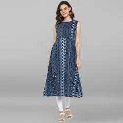Janasya Women's Indigo Pure Cotton Kurta (J0097)