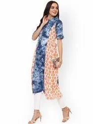 La Firangi Women Blue & Orange Dyed A-Line Kurta