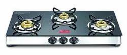 Superior Toughened Glass-top Black Marvel Plus GTM 03 SS Plus Prestige Gas Stove, For Kitchen