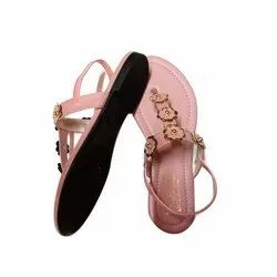Daily wear Pink Ladies Flower Sandal, Size: 10