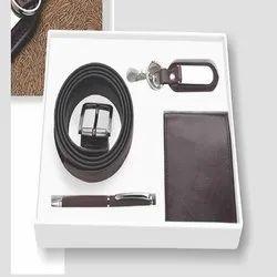 Black Leather Wallet Belt Key Chain Pen Gift Set