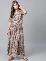 La Firangi Women Grey & Red Printed Crop Shirt with Skirt