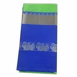 Party Wear Border Ladies Green And Blue Cotton Silk Saree, 6.3 m (with blouse piece)