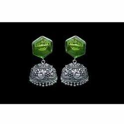 Dangler Green BE-1007 Brass Earring