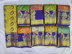 Wedding Silk Saree With Kalamkari Border, Length: 6.3 m (With Blouse Piece)