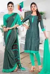 Green Border Small Print Premium Italian Silk Crepe Saree for Hospital Uniform Sarees