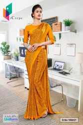 Orange Printed Italian Creape Uniform Sarees