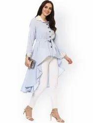 La Firangi Women Blue & White Striped A-Line Kurta