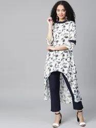 La Firangi Women White & Navy Blue Printed Kurta with Trousers