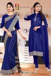 Navy Blue Plain Border Premium Polycotton Raw Silk Saree Salwar Combo For Teachers Uniform Sarees