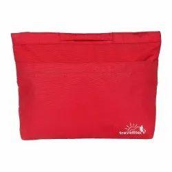 Red Polyester Cosmetic Bag, Rectangluar