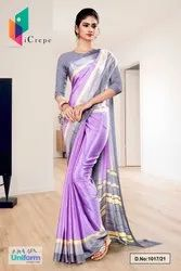 Lavender Gray Premium Italian Silk Crepe Saree For Factory Uniform Sarees 1017