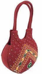 cottonfabric RED Handicraft Handbags For Women, Size: Small