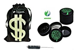 CNC Diamond Teeth Herb Smoking Grinder (Crusher) 56mm/4 Part Colored Incl. Velvet Pouch & Cleaner