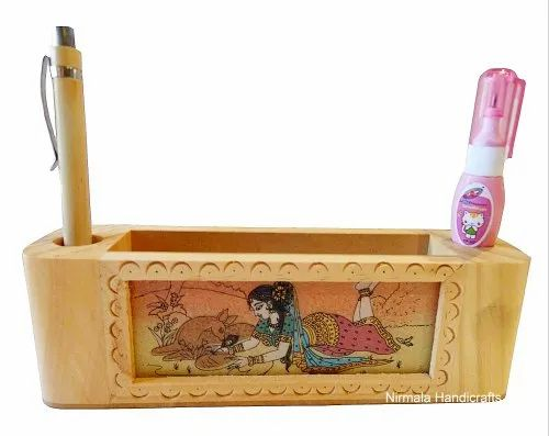 Wooden Card Holder With Pen Stand Meenakari Work Home/Office Desk Used Decorative Showpiece