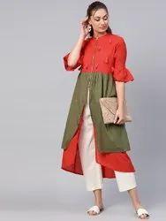 La Firangi Women Red & Olive Green Colourblocked A-Line Kurta
