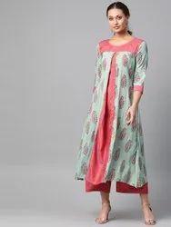 La Firangi Women Green & Pink Printed Kurta With Palazzos
