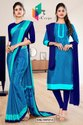 Navy Blue Sea Green Small Print Premium Italian Silk Crepe Uniform Sarees For Institutions