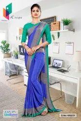 Blue Green Premium Italian Silk Crepe Uniform Sarees For Office Staff