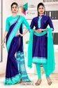 Navy Blue Sea Green Premium Italian Silk Crepe Saree For Front Office Uniform Sarees