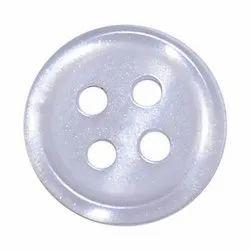 White Round Polyester Button
