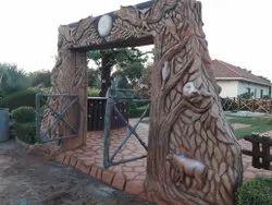 Brown & Grey Amusement Park Cement Gate