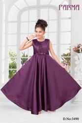 Kinds Purple Party Wear Gown, Size: 20-28,30-38